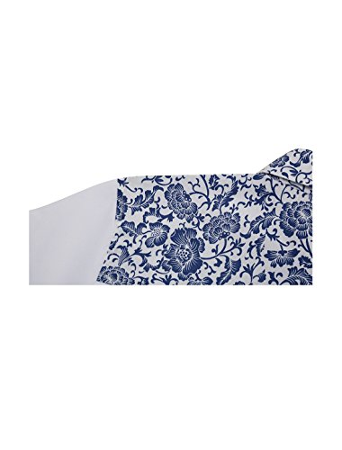 Allegra K Camisa Para Hombres Mangas Cortas Impresiones Florales Boton-Frente Blanco y Azul