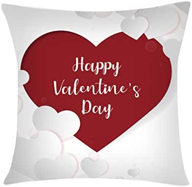 Valentine's Day Home Decorative Love Heart Throw Pillow Case Cushion Cover with Words for Lover Sofa Couch 18