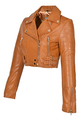 Biker Leather Goods - A1 FASHION GOODS Tan Leather Womens Biker Jacket Short Cropped Fitted Bolero Bustier Coat Amanda (Large)