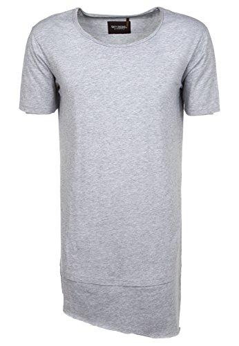 Sky Rebel Herren T-Shirt weiß kurzarm mit Rundhals-Ausschnitt | Männer Long Shirt cooler oversize Look light-grey L