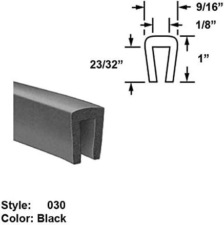 Black 9//16 Neoprene Rubber U-Channel Push-On Trim Style 030 1 x Wd Ht 25 ft long