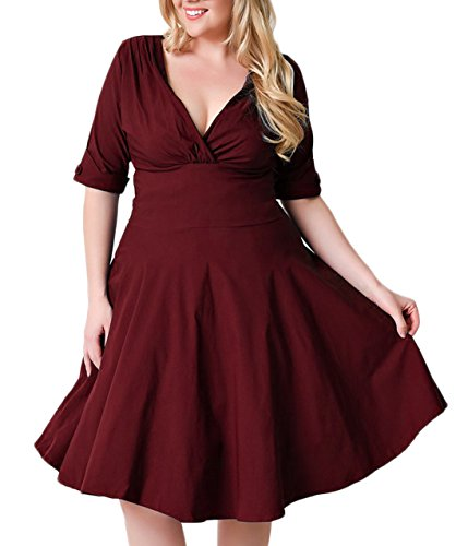 Nemidor Women's Vintage 1950s Style Sleeved Plus Size Swing Dress (22W, Burgundy)
