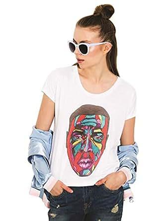Dear Deer White Round Neck T-Shirt For Women