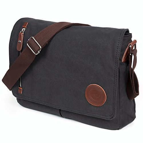 bf0dcb9ecd LOSMILE Mens Canvas Messenger Shoulder Bag. (Black)  Amazon.co.uk  Luggage