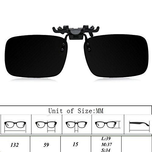 de conducción día sol marrón gafas lente on de Negro visión Flip polarizadas Clip up Medium Lamdoo Gafas noche 1xEq4wO4I
