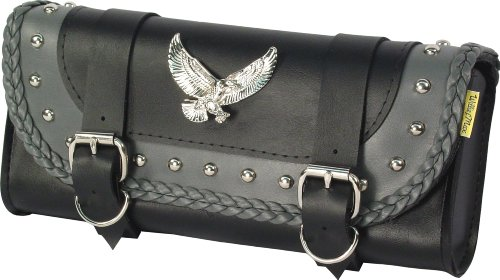 Dowco Willie & Max 58245-01 Thunder Series: Synthetic Leather Studded Motorcycle Tool Pouch, Black and Grey, Universal Fit ()