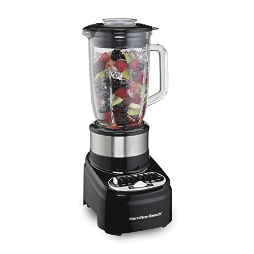 Hamilton Beach 54210 Blender with 40 Oz Glass Jar for Shakes and Smoothies, 14 Speeds, 800 Watts, Stainless Steel by Hamilton Beach