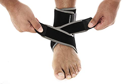 Exrebon Ankle Brace Neoprene Adjustable Ankle Support Wrap with Metal Springs Breathable Ankle Brace Stabilizer for Men & Women,OZ