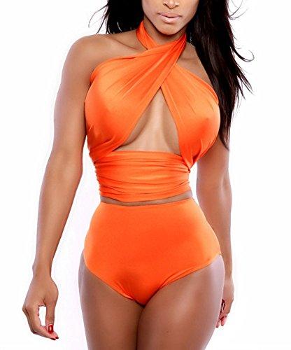 Women's High Waist Criss Cross Two Piece Swimsuit Bandeau Bikini Set Swimwear Medium - Criss Cross Orange