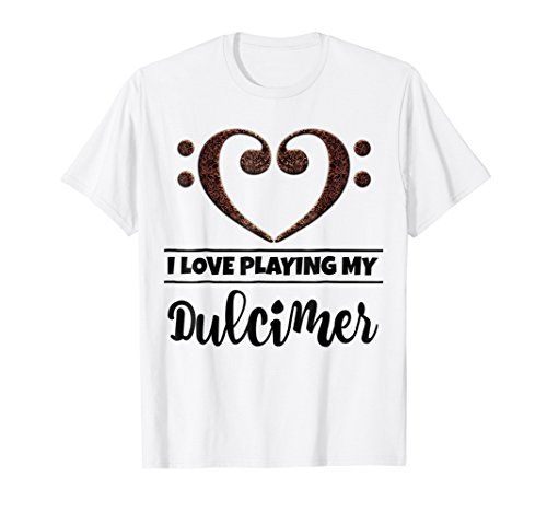 Double Bass Clef Heart I Love Playing My Dulcimer Music Lover T-Shirt