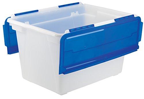 Storex Flip-Top Storage Tub, 22.5 x 15.25 x 13 Inches, Frost/Blue, Case of 4 (00912U04C)
