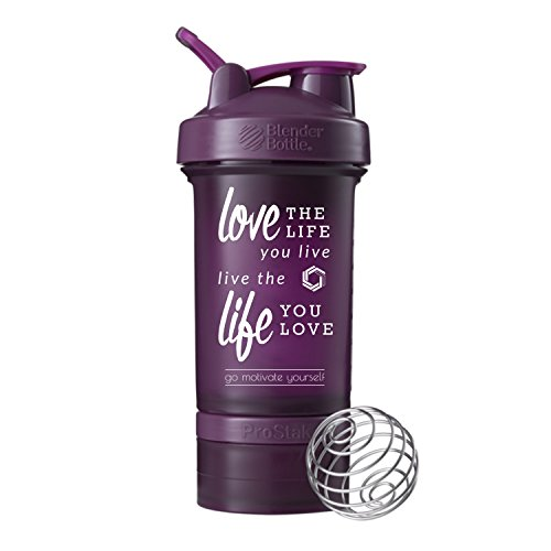 GOMOYO Love Life on BlenderBottle Brand ProStak Shaker Cup, 22-oz. Protein Shaker Bottle with BlenderBall Whisk and 2 Twist n' Lock Attachable containers (Plum)