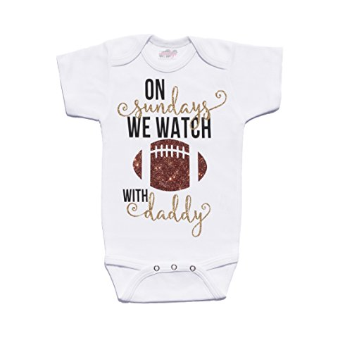 Price comparison product image On Sundays We Watch Football With Daddy Cute Football Baby Onesie Cassidy's Closet (3-6 Months)