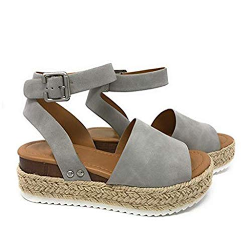 Women Wedges Retro Peep Toe Sandals Summer Fashion Sandals Buckle Strap Sandals Gray