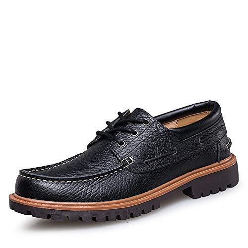 para de 45 Hombres Zapatos Color tamaño de Cuero Genuino Derby Negro Respirable Cordones EU Moda de Qiusa aqUtIxw5U
