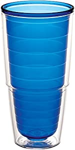 Tervis 1037260 Clear & Colorful Insulated Tumbler, 24 oz Tritan, Sapphire