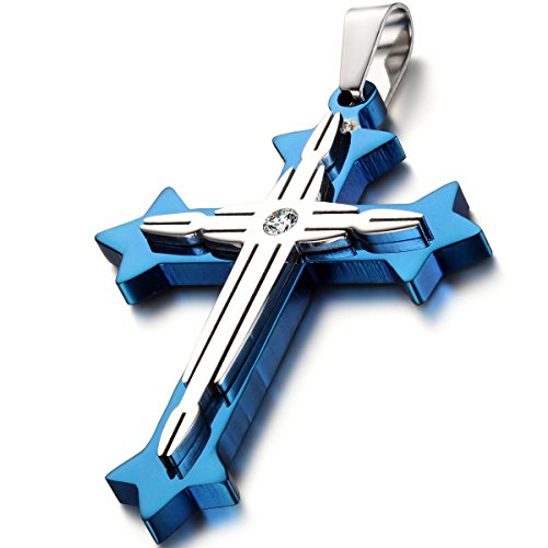 Oidea Mens Stainless Steel Blue Silver Double Cross Pendant Necklace Chain Included,with Gift - Double Pendant Cross