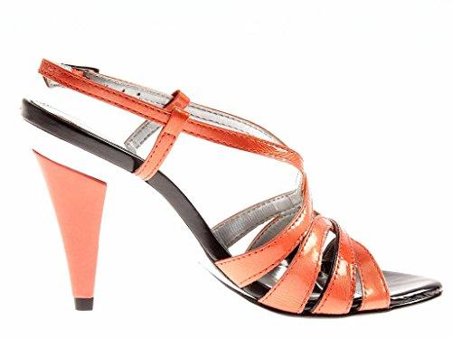 Shoes Ladies' Heeled High Leather High Sandalette Patent UNO Sandals VIA Heel Salmon XO1Hvnxz