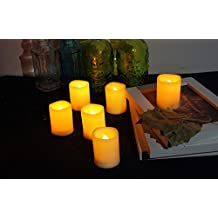 Candle Choice Set of 6 Flameless Votive Candles with Remote and Timer (4-hour, 5-hour, 6-hour and 8-hour, Four Timers)