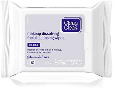 Clean & Clear Makeup Dissolving Facial Cleansing Wipes, 25 Sheets
