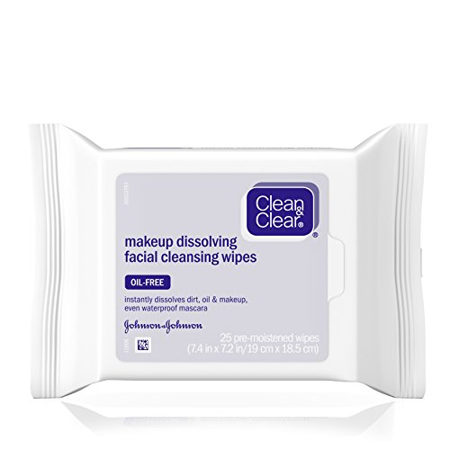Clean & Clear Oil-Free Makeup Dissolving Facial Cleansing Wipes to Remove Dirt, Oil, Makeup & Waterproof Mascara, 25 - Waterproof Mascara Remove