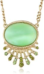 "Signature 1928 ""Moonstone"" Gold Tone Green Moonstone Oval Pendant Necklace, 16"""