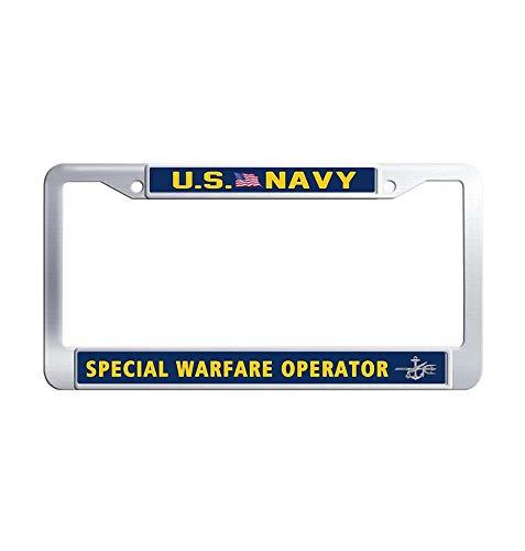 JiuznsFrame US Navy Special Warfare Operator License Plate Frame, Waterproof Stainless Steel Metal License Plate Frame Holder with Screw Caps