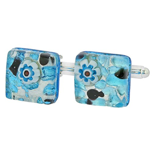 Glass Venetian Classic Square Cufflinks - Aqua Purple ()