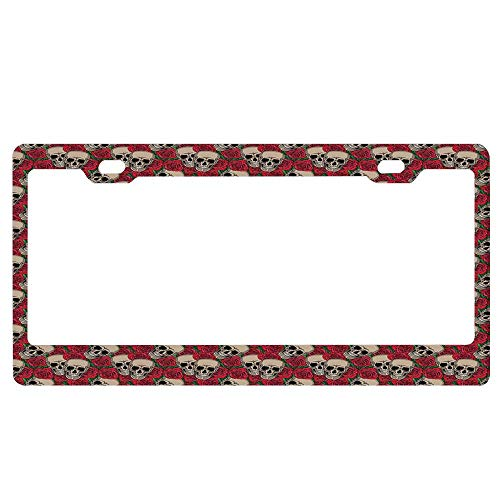 Rose,Graphic Skulls and Red Rose Blossoms Halloween Inspired Retro Gothic Pattern,Vermilion Tan Green License Plate Frame Funny Humor Auto Car Tag Frame, 2 Holes and Screws for US -