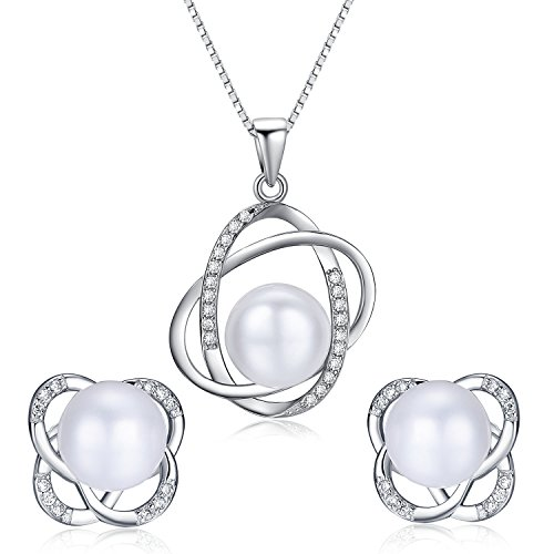 Lovely Pearl Set (Stunning Flawless Pearl Stud Earrings & Silver Chain Pendant Set| Impeccable Quality Natural, Flawless Freshwater Pearl & 925 Sterling Silver| The Most Unique Fashion Jewelry Set (1 | White Pearls))