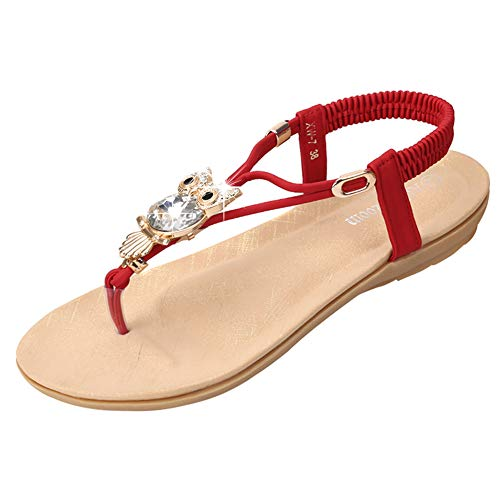 Womens Sandals Flat Bohemia Style Gem Owl Beaded Clip Toe Flip Flop Casual Summer Shoes Red ()