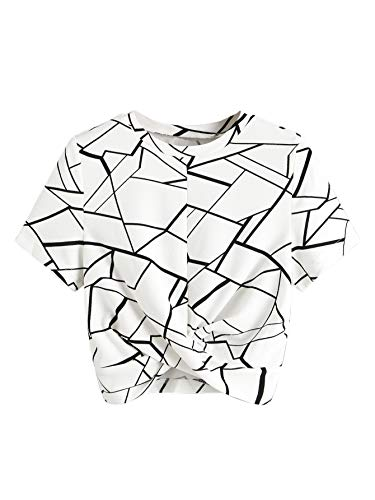 SweatyRocks Women's Cross Wrap Front Geometric Print Short Sleeve Crop Top T-Shirt White L