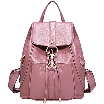 2378e15645 BOYATU Real Leather Backpacks Purse for Women Ladies Fashion Travel  Shoulder Bag (Taro Pink)