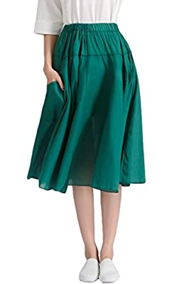 Azue Women's Midi/Long Casual Skirts Pleated High Waist Flared Elegant A Line Cotton Skirts