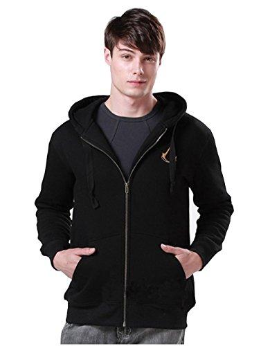 Elegant Men's Full Zip Fleece Hoodies Jacket Assassin's Creed 4th Black Flag Sweatshirt (US M=Asia XL(Chest43.3