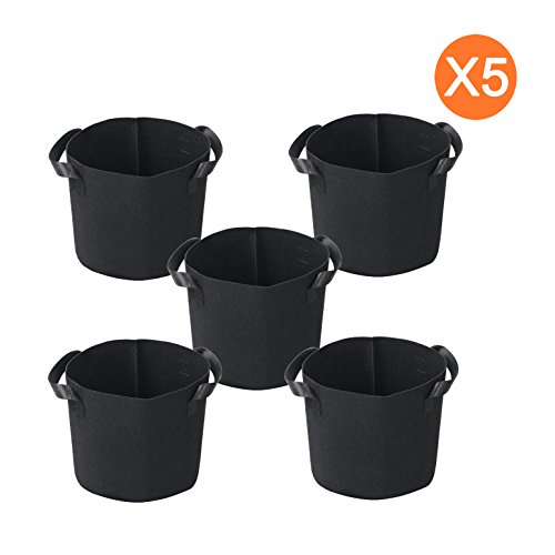 5 gallon black plastic pots - 4