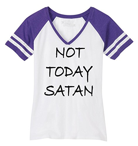 Comical Shirt Ladies Not Today Satan Funny Religious Tee Game V-Neck Tee
