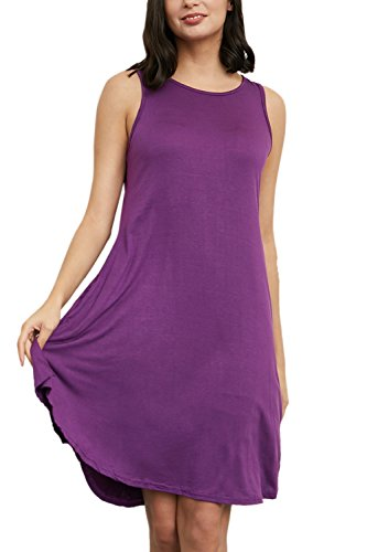 Casual Le shirt Vestito T Yacun Tasca Donne Viola Mini Prendisole Con O4wYf1q