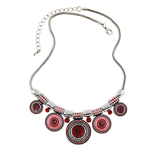 (Choker Necklace Fashion Ethnic Vintage Plated Colorful Bead Pendant Stat - National style ladies alloy drop oil inlaid diamond necklace)