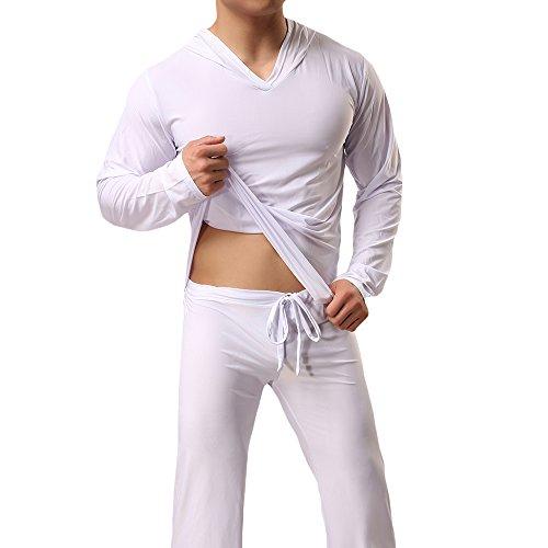 (WEEN CHARM Men Ice Silk Yoga Loungewear Set Sleepwear Long Sleeve Hooded Top with Pajamas Pants)