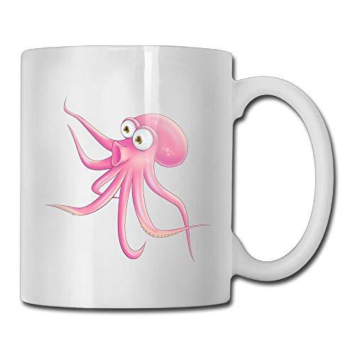 Moyhza Cute Pink Octopus Funny Ceramic Coffee Mug,11oz ()