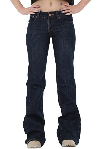 Cindy. H 60s 70s Style Flares Dark Wash Flared Stretch Hipster Jeans - Dark Blue (US4 / UK6)