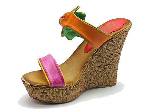 Para Colores Varios Fiori Mujer Piel Sandalias De Mercante On7753 Multicolore Di Vestir Multicolor q4wnx8PTC