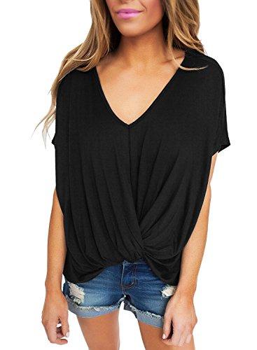 New nero drappeggiato Front nodo camicetta estate camicia top casual Wear taglia UK 8EU 36