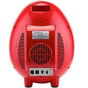 SMETA 110V Mini Bottle Cooler Warmer Refrigerator for Office Dorm 12V Personal Fridge Cute Design Present,Red,4L