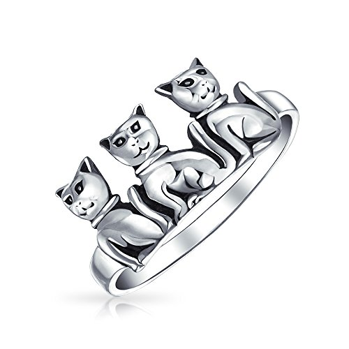 Bling Jewelry Three Sitting Cats Antiqued Sterling Silver Animal (Antiqued Cat)