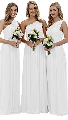 Damen kleider Beyonddress Schulter Hochzeit Partykleider Elegant Eine Weiß Abendkleider Chiffon Brautjungfern Lang gOOS6