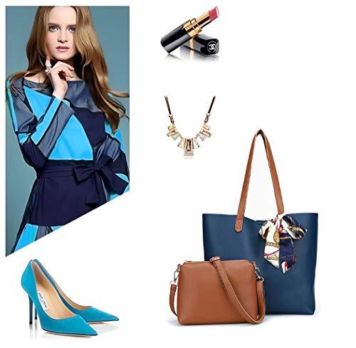 Sacs main épaule Sacs Femme DEERWORD Faux Cuir portés main portés Bleu Cartable Sacs à bandoulière Sacs Sacs Ttvxn6zv