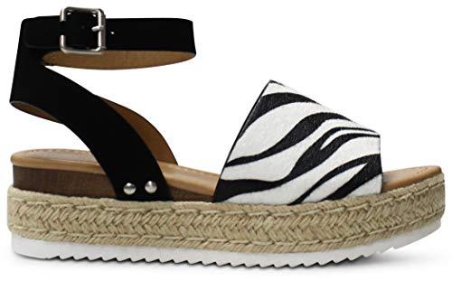 AFFORDABLE FOOTWEAR Women's Open Toe Ankle Strap Espadrille Wedge Sandal - (Zebra NB) - 7.5