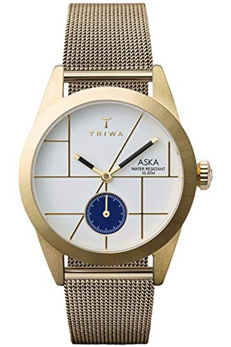 Triwa aska Womens Analog Japanese Quartz Watch with Stainless Steel Gold Plated Bracelet AKST106MS